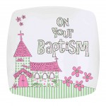 Pink Baptism Church Plate