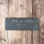 Mr & Mrs Hanging Slate Plaque