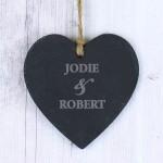 Couples Slate Heart Decoration
