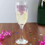 Pink Banner Glass Flute
