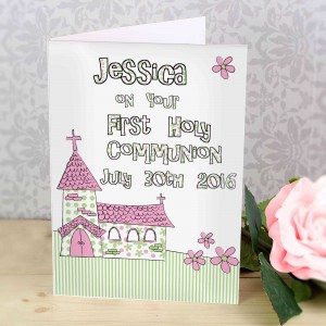 Whimsical Church Pink 1st Holy Communion Card
