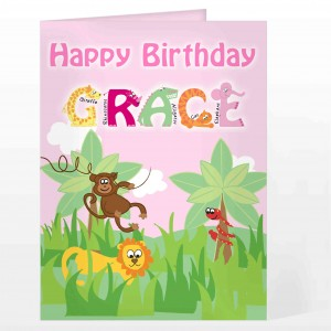 Girls Animal Alphabet Card