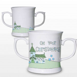 Blue Christening Church Loving Mug