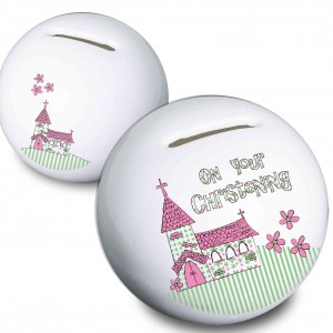 Pink Christening Church Money Box