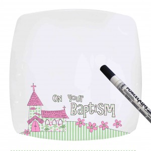 Pink Baptism Church Message Plate