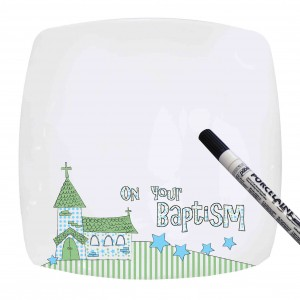 Blue Baptism Church Message Plate