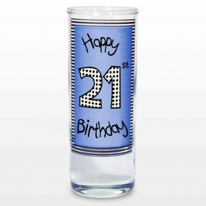 Blue 21st Happy Birthday Shot Glass