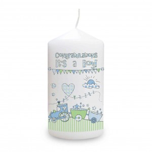 Whimsical Train It's a Boy Candle