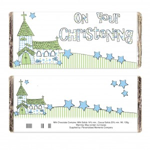Blue Church Christening Milk Chocolate Bar