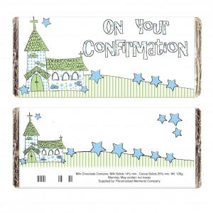 Blue Confirmation Church Milk Chocolate Bar