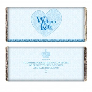 Royal Wedding Blue Heart Milk Chocolate Bar