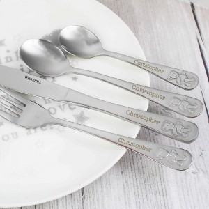 Teddy 4 Piece Embossed Cutlery Set
