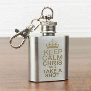 Keep Calm 1oz Hip Flask Keyring