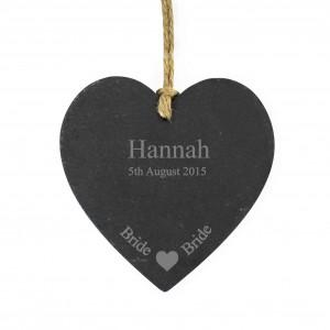 Bride Slate Heart Decoration