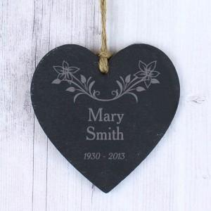 In Loving Memory Floral Slate Heart