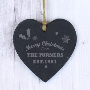 Merry Christmas Slate Heart