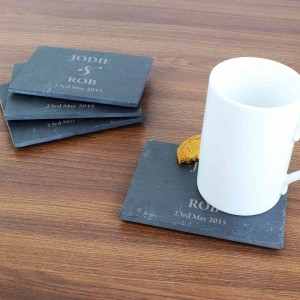 Couples 4 Pack of Slate Coasters