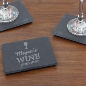 Wine Goes Here... Single Slate Coaster