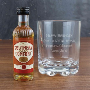 Whisky Glass & Southern Comfort Miniature Set