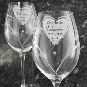 Hand Cut Big Heart Diamante Wine Glasses with Swarovski Elements
