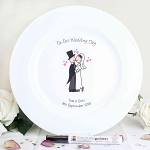 Cartoon Couple Message Plate