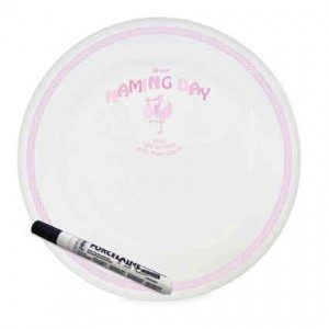 Stork Pink Naming Day Message Plate