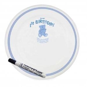 Teddy Blue 1st Birthday Message Plate