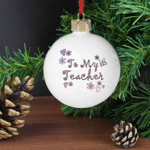 Flowers and Butterfies Teacher Bauble