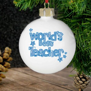 Blue Worlds Best Teacher Bauble