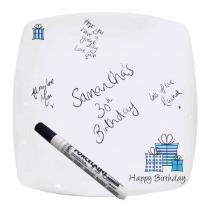 Presents Message Plate-Blue
