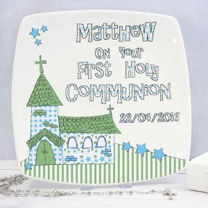 Whimsical Church Blue 1st Holy Communion Plate