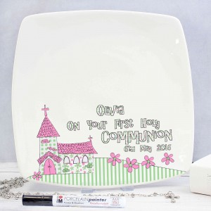 Whimsical Church Pink 1st Holy Communion Message Plate