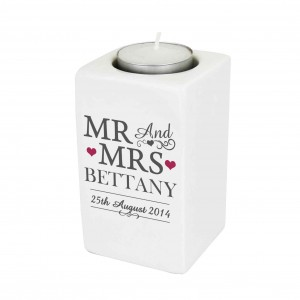 Mr & Mrs Ceramic Tea Light Candle Holder