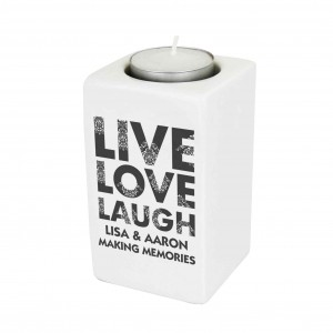 Live Love Laugh Ceramic Tea Light Candle Holder