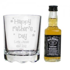 Happy Father's Day Glass & Bourbon Whisky Miniature Set
