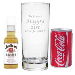 Hi Ball Glass with Bourbon Whisky Miniature & Coke Set