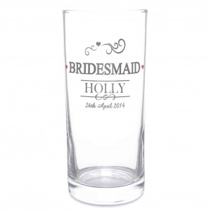 Mr & Mrs Bridesmaid Hi Ball Glass