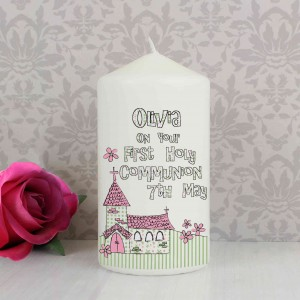 Whimsical Church Pink 1st Holy Communion Candle