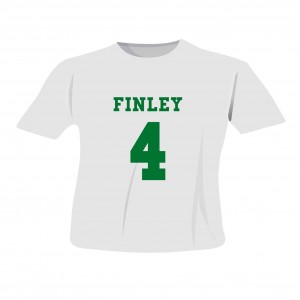 Green Name & Number T-shirt 3-4 Years