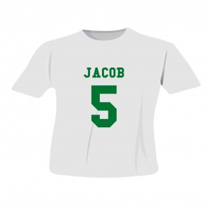 Green Name & Number T-shirt 5-6 Years