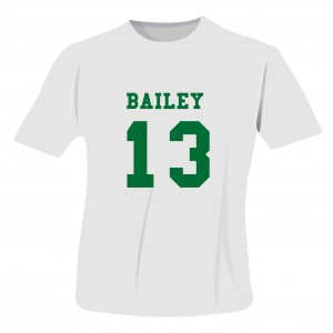 Green Name & Number T-shirt 12-13 Years