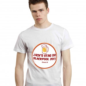 Beer Stag Do T-Shirt - White - Small