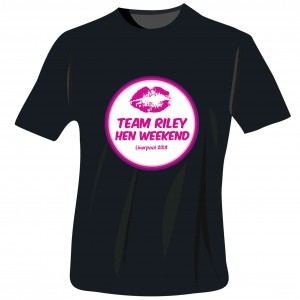 Lips Hen Do T-Shirt - Black - Extra Large