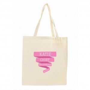 Pink Banner Cotton Tote Bag