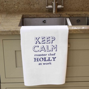 Keep Calm White Tea Towel