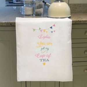 Bunting White Tea Towel