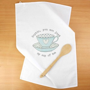 Vintage Tea cup White Tea Towel