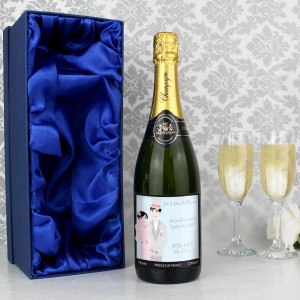 Fabulous Wedding Couple Champagne with Gift Box