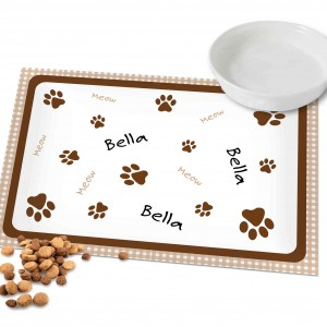 Brown Gingham Cat Placemat