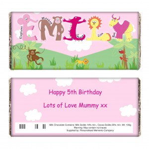 Girls Animal Alphabet Chocolate Bar
